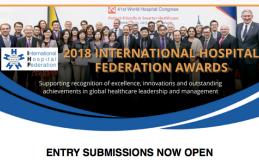 S'obre la convocatòria als 2018 International Hospital Federation Awards