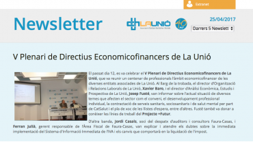 Newsletter V Plenari Economicofinancers