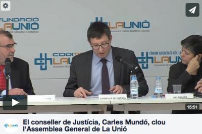 El conseller de Justícia, Carles Mundó, en la clausura de l'Assemblea General de La Unió
