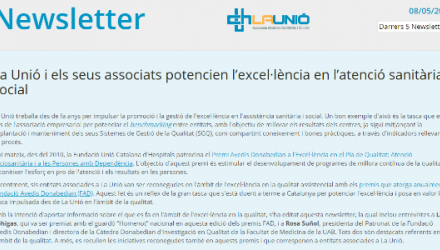 Newsletter sobre el que es fa en l'àmbit de l'excel·lència en la qualitat dins l'atenció sanitària i social