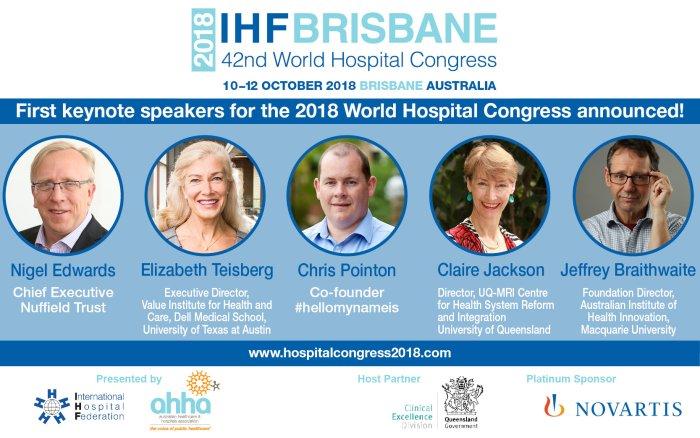 keynote speakers WHC Brisbane Congrés Mundial Hospitals 2018